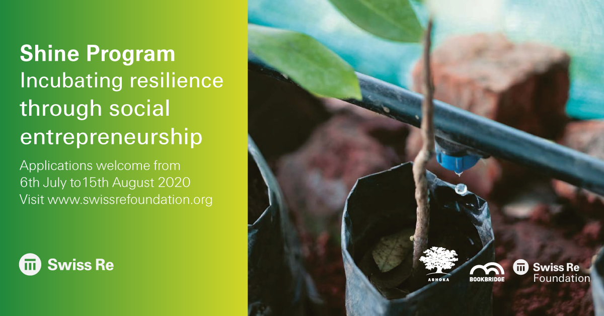 If you're an entrepreneur in India seeking to transform an idea into a social enterprise, Swiss Re's Shine program can support you. You can learn more about the program and apply here –   https://t.co/TDyn8GjpPZ https://t.co/p8iqRiO2Zh