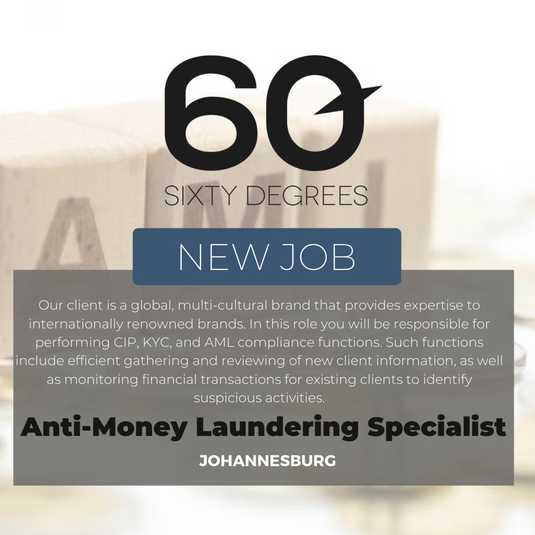 test Twitter Media - New #JobAlert - Anti-Money Laundering Specialist in JHB  https://t.co/lb5567nBpB  #rolesinJHB #finance #60Degrees #60DRecruiter #60Droles https://t.co/KxmtnLQyzw