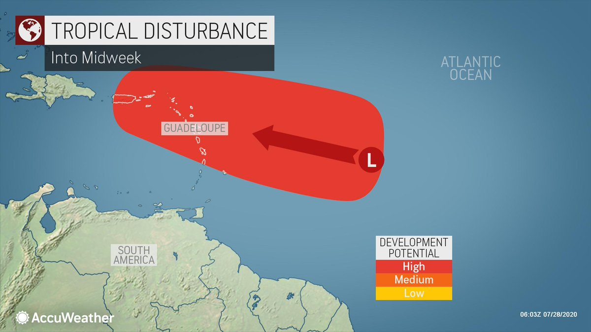 Yet another tropical system could be spawned in the Atlantic this week, as a very active July in the tropics continues: https://bit.ly/3gah7Lq