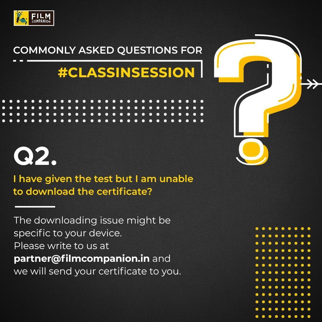 Here's providing solutions to some of the most frequently asked questions for #ClassInSession! Let us know your queries & if you still haven't registered then begin with the first module #WritingAboutFilms : https://t.co/9tC1z6lh8N right away! https://t.co/dBkQew4gP2