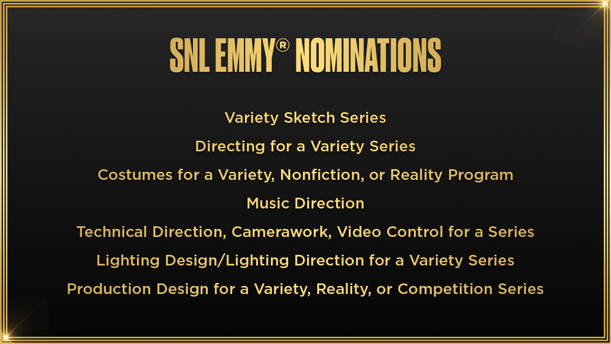 🎉🎉🎉 Full list of nominations here: emmys.com/shows/saturday…