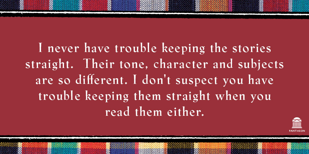 @McCallSmith Ever wonder if the tales get mixed up? Debbie asked, 'How do you keep all of his stories straight?'