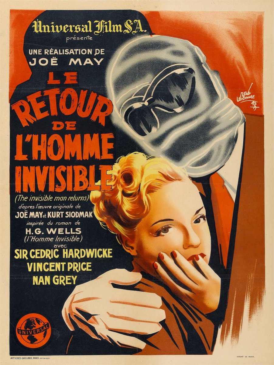 THE INVISIBLE MAN RETURNS (1940) Cedric Hardwicke, Vincent Price #horror French #poster pic.twitter.com/gDyesnqDD8