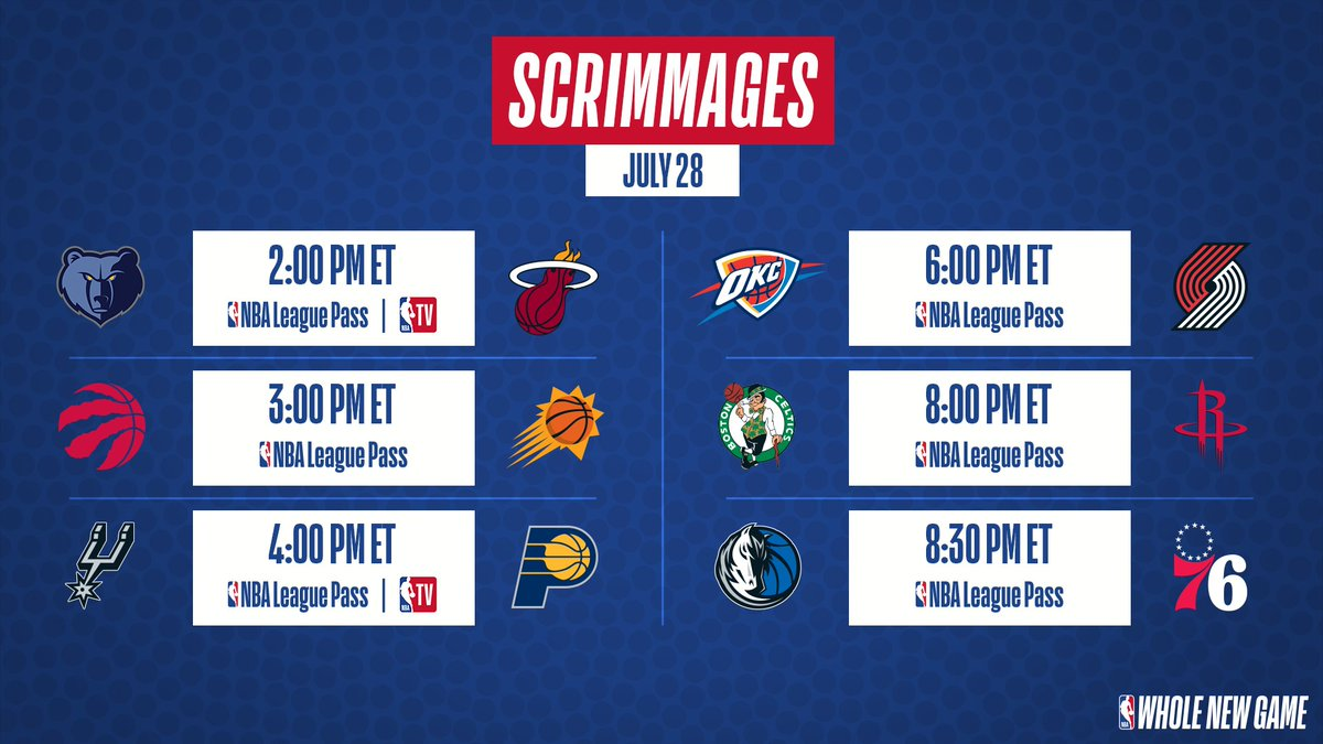 Todays Scrimmage Schedule! Watch LIVE with NBA League Pass ➡️ nba.app.link/e/NBAScrimmages NBA Restart begins this Thursday (7/30). #WholeNewGame