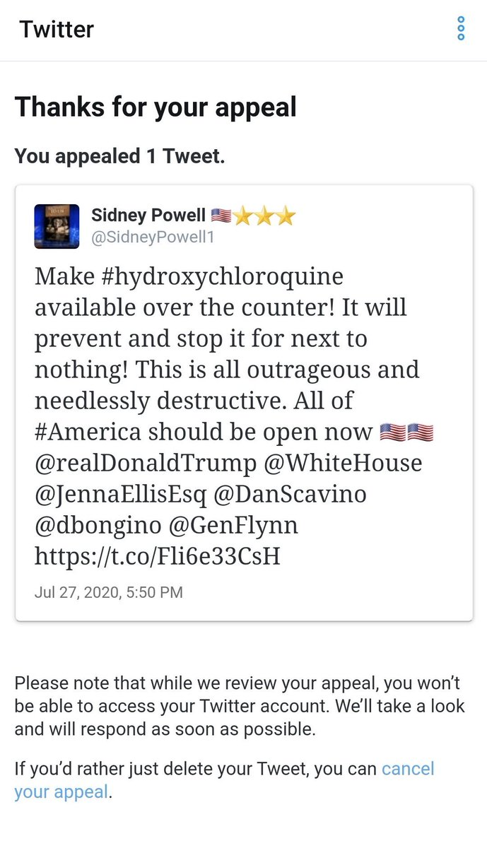 Jenna Ellis On Twitter Breaking Genflynn S Attorney Sidney Powell S Twitter Has Been Suspended For Her Tweet On Hydroxychloroquine That President Realdonaldtrump Retweeted Last Night Twitter Is Making A Big Push To Silence