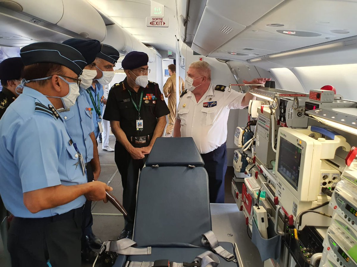 The French Air Force team also demonstrated a Patient Transfer Unit (PTU), based on the A330 Phénix' MRTT platform, to the Indian Armed Forces Medical Team. (3/3) #lndianAirForce @FranceinIndia @Indian_Embassy