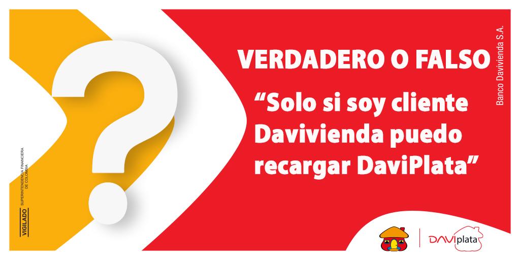 ¿Si voy a recargar #DaviPlata tengo que ser cliente Davivienda? #BienvenidoAlNuevoMundo, conozca la respuesta en: https://t.co/jcsSMIUyh0 y de RT para que más personas se enteren😏 https://t.co/SayGO9JzSu