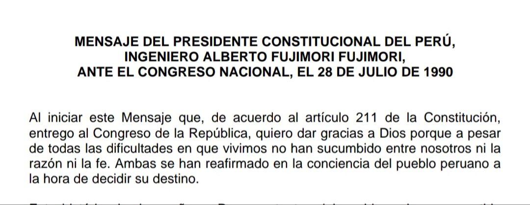 """28 de Julio 1990.Pdte. Fujimori: """"Quiero dar gracias a Dios porque a pesar de todas las dificultades en que vivimos no han sucumbido entre nosotros ni la razón ni la fe"""".Hoy,con la bandera a media asta, la fe y el trabajo de los peruanos volverá a rescatar al país.@KeikoFujimori https://t.co/AHZzgwCixb"""