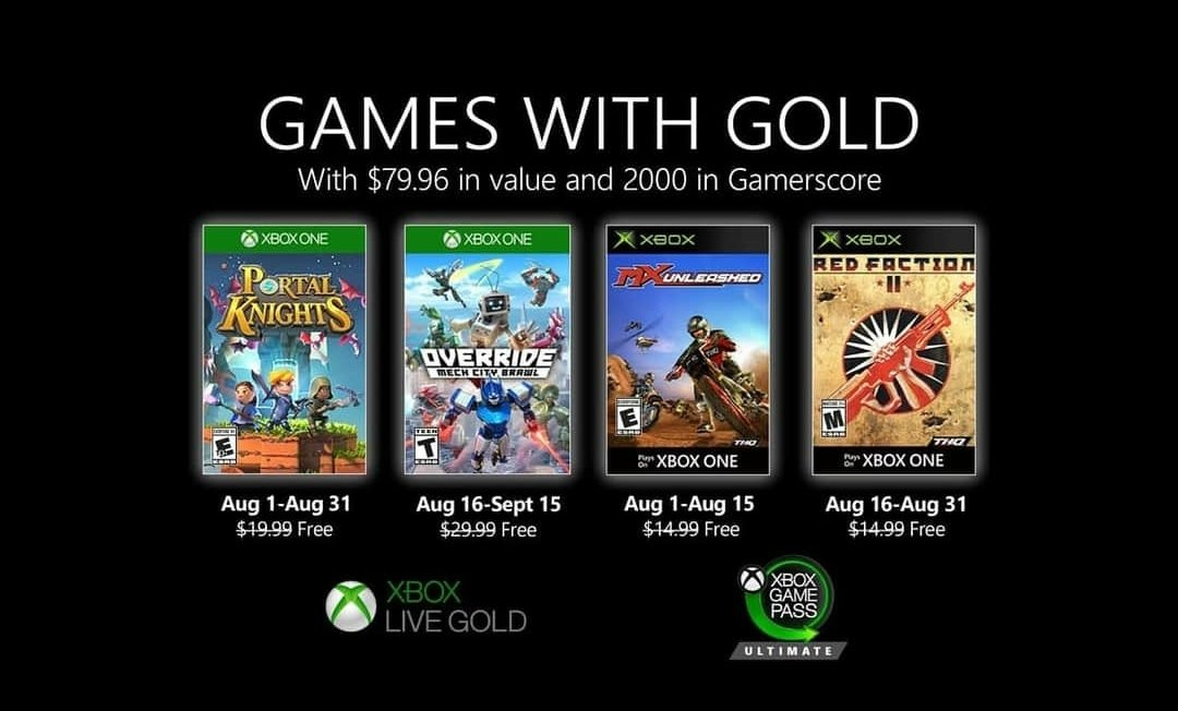 Xbox Live Games with Gold August 2020