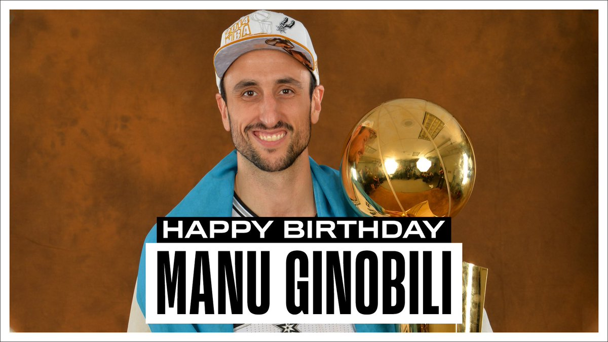 Join us in wishing a Happy 43rd Birthday to 2x #NBAAllStar, 4x NBA Champion and 2007-08 Sixth Man of the Year, Manu Ginobili! #NBABDAY