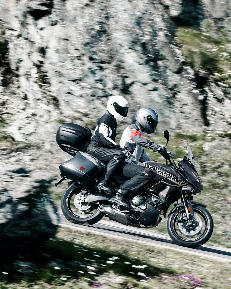 With hard saddlebags already installed on the #Versys650 LT, you're ready for #GoodTimes. . . . Non U.S. model specs may be depicted. Accessorized unit shown. https://t.co/9RHD92iABx