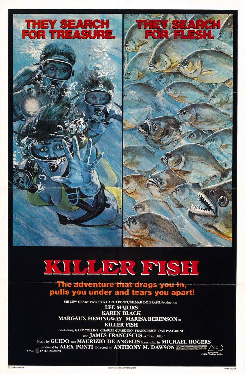 KILLER FISH (1979) #horror w/ Lee Majors, Karen Black, Margaux Hemingway #poster pic.twitter.com/FSeTTLbWUf