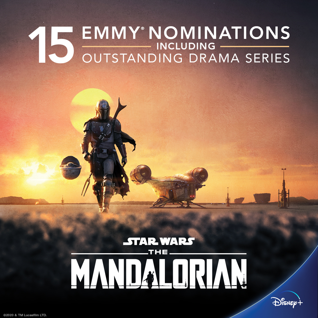"""#TheMandalorian is nominated for 15 Emmy® Awards including """"Outstanding Drama Series."""