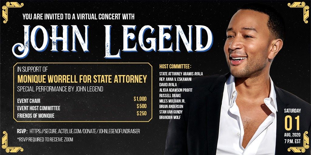 We need a State Attorney like @MoniqueHWorrell who will fight to reform the criminal justice system and end the injustices—like mass incarceration—that communities of color face within the system. Join me for a virtual show on Aug. 1: secure.actblue.com/donate/johnleg…