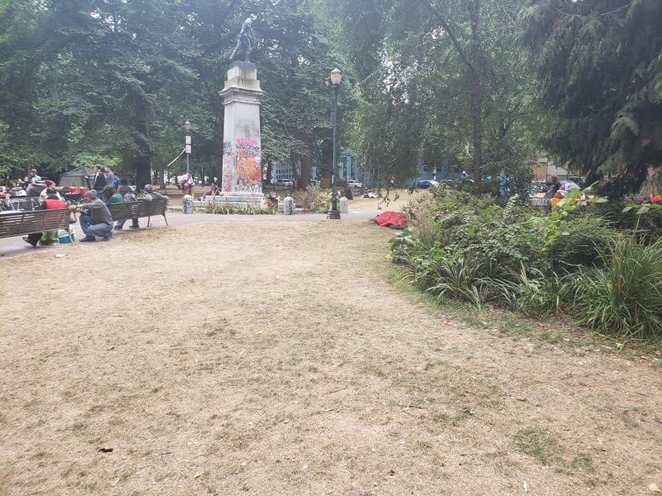 """Downtown Portland is FINE. Even cleaner than usual b/c volunteers clean up after protests. Share to stop GOP lies that we're """"having riots and in danger of losing our city."""" #PortlandProtest #Portlandriots More clean park, looking SW from near the corner of 3rd and Salmon. https://t.co/YoWPdVbrYG"""