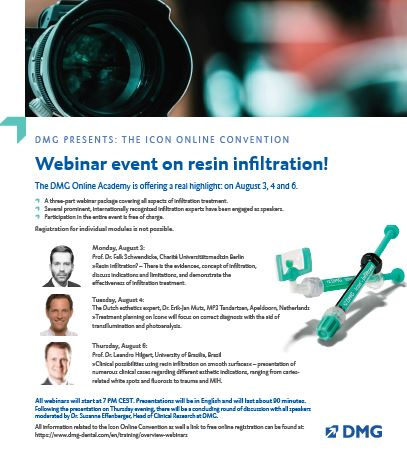 Join us for our 3-day FREE webinar on resin infiltration.  Join us each day at 7pm and listen to experts discuss resin infiltration treatment. #IconbyDMG #resininfiltration  Register Now: https://t.co/PrTtF6KWmM https://t.co/vT6cGN132E