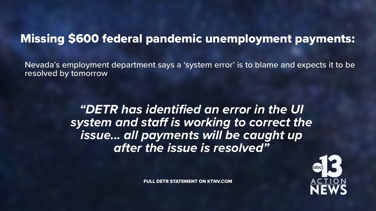 Ktnv Action News On Twitter Read The Full Statement From Detr Here Https T Co Dbfr1k9aa3 Nevada Unemployment Pandemic