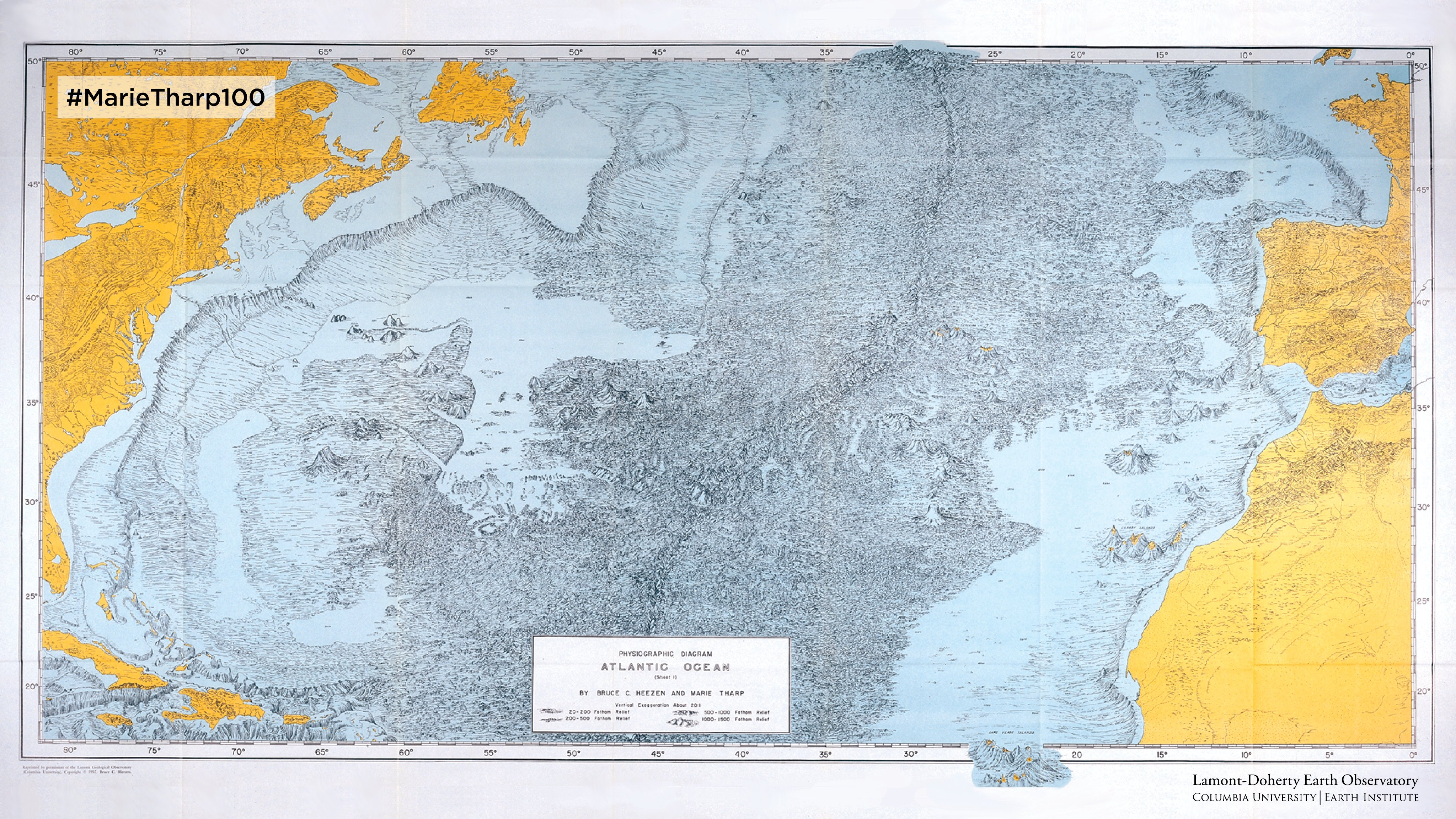 Before Tharp and Heezen's 1957 map of the Atlantic seafloor, scientists assumed the bottom of the ocean was mostly flat and featureless. Reproduced with permission from Marie Tharp Maps LLC and Lamont-Doherty Earth Observatory.