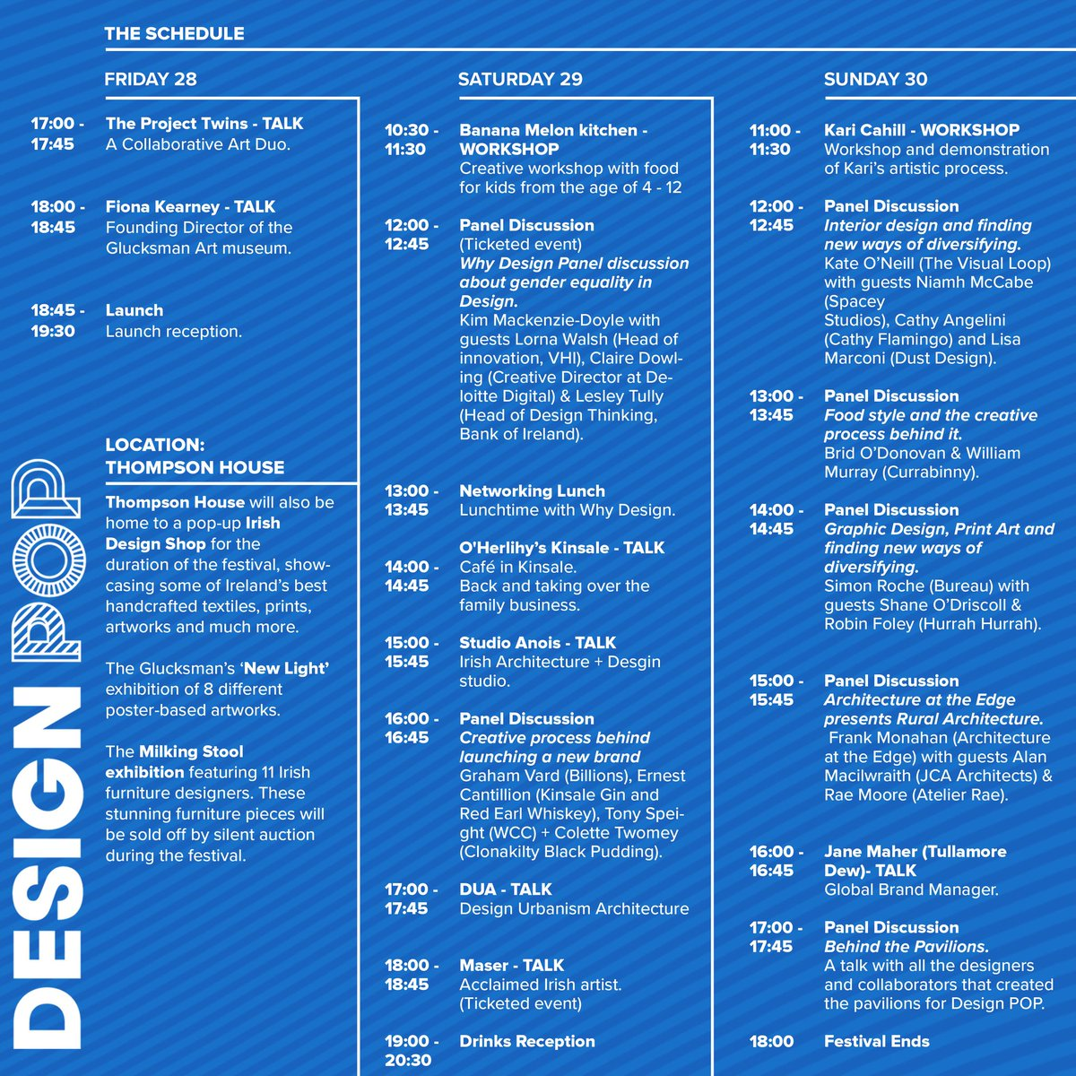 The Design POP schedule has been announced!! So excited!DP takes place from the 28-30th of August in Cork. Go to our website for more details and sign up to our news letter to keep updated on all our announcements. #designpop2020 #designpopcork #designandfood #designfestival https://t.co/hFM0DI0wVK