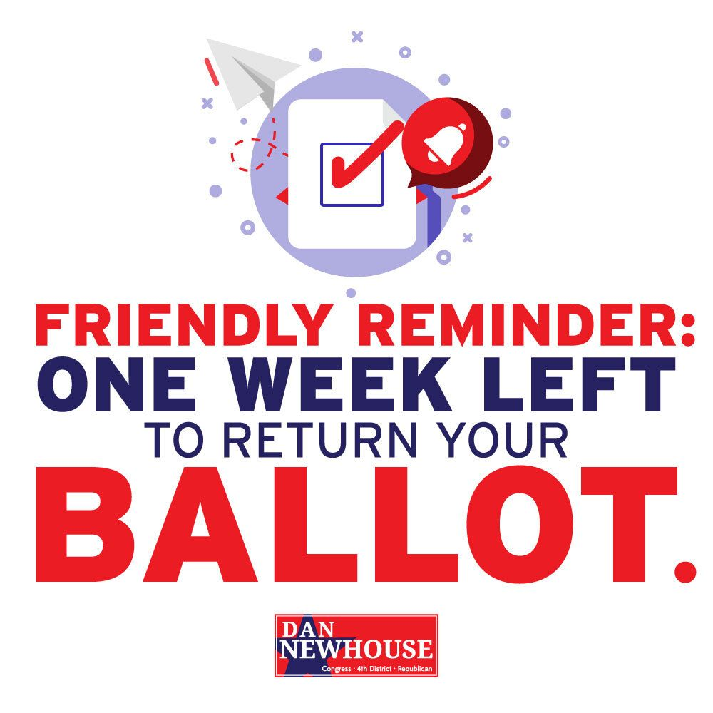 REMINDER: Ballots must be turned in by next week at this time! #WA04 https://t.co/vJz8eeAlyZ