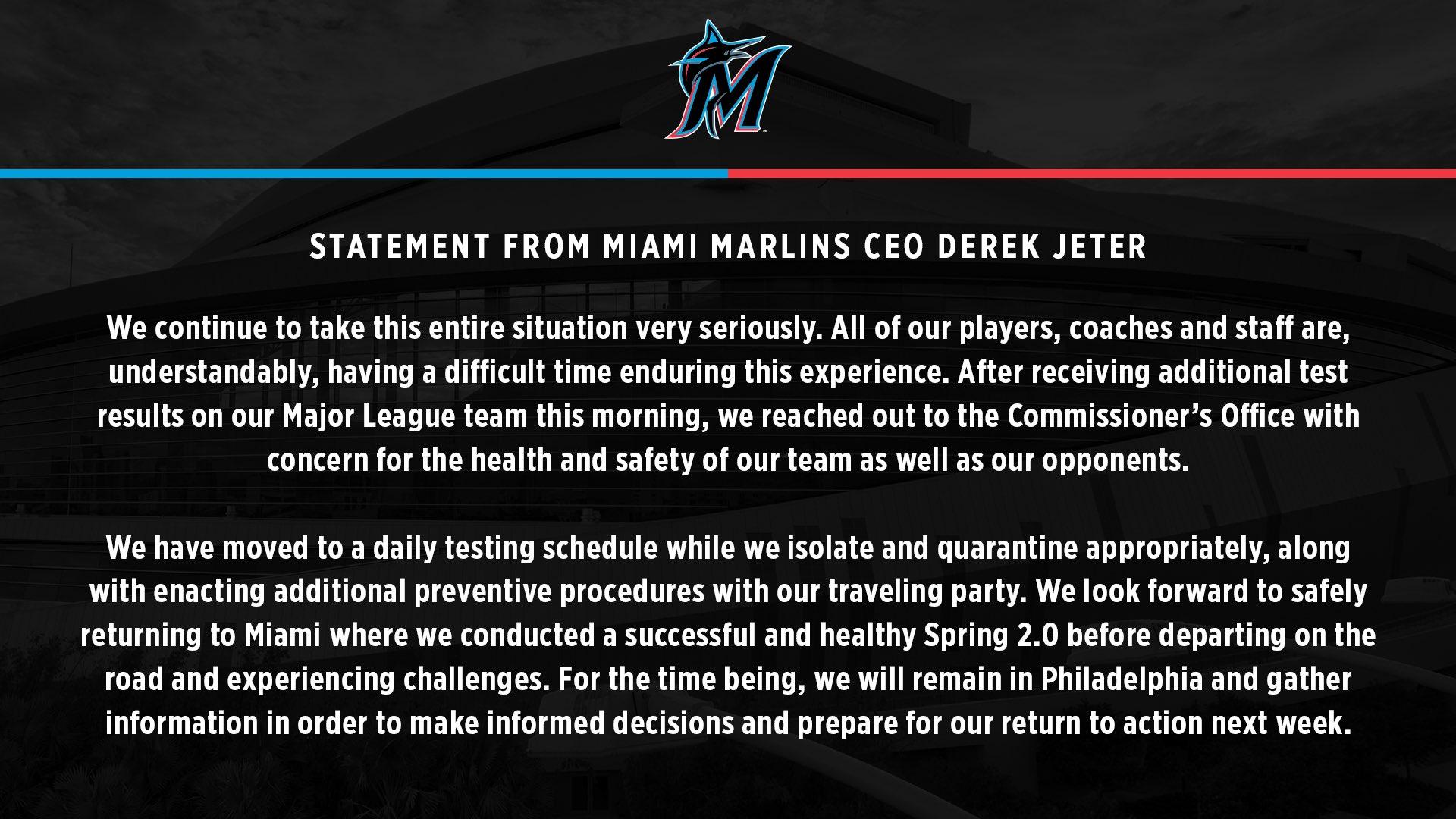 Declaración del CEO de los Miami Marlins, Derek Jeter.