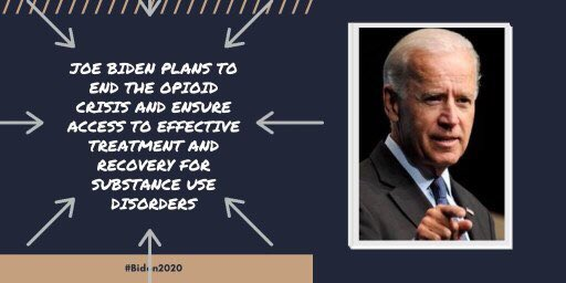 Joe Biden has a plan to end the opioid epidemic by expanding access to treatment & recovery services. @JoeBiden will allot money to support: 🌀Peer-support networks 🌀Recovery coaches 🌀Intergrartion of primary & behavioral health 🌀Family-centered models of therapy #OneV1