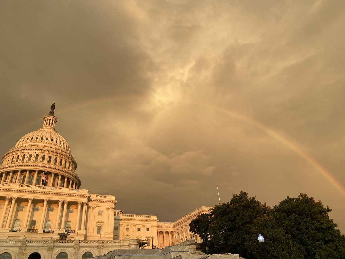 Just now — at the last sunset of the last day that Congressman John Lewis will lie in state here — an honest to God rainbow shines over the Capitol. #GoodTrouble