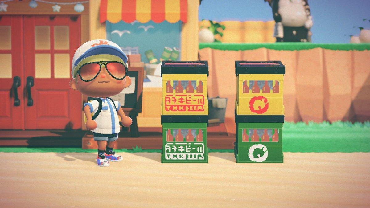 架空のビール会社の続きです。透過してるので緑と黄色のレコードボックスに使用して下さい。会社ロゴもあります。 #どうぶつの森 #AnimalCrossing #ACNH #NintendoSwitch #マイデザイン #マイデザ配布