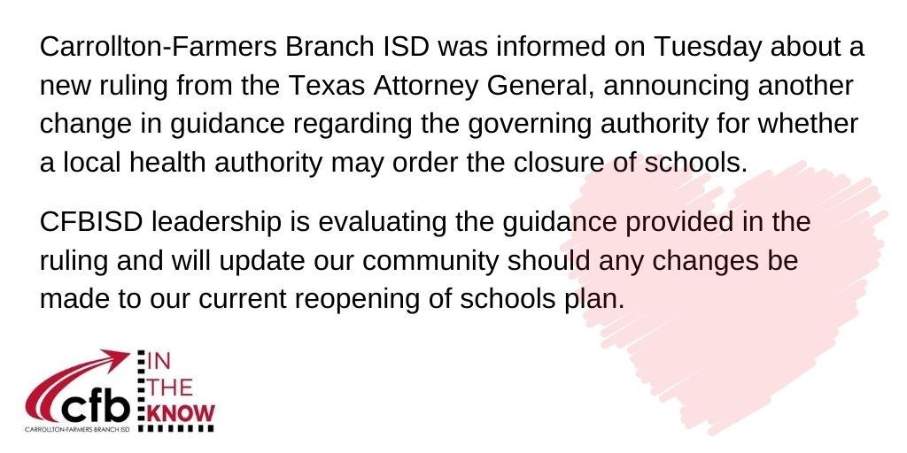 Attention Parents, Students and Staff… #CFBISD
