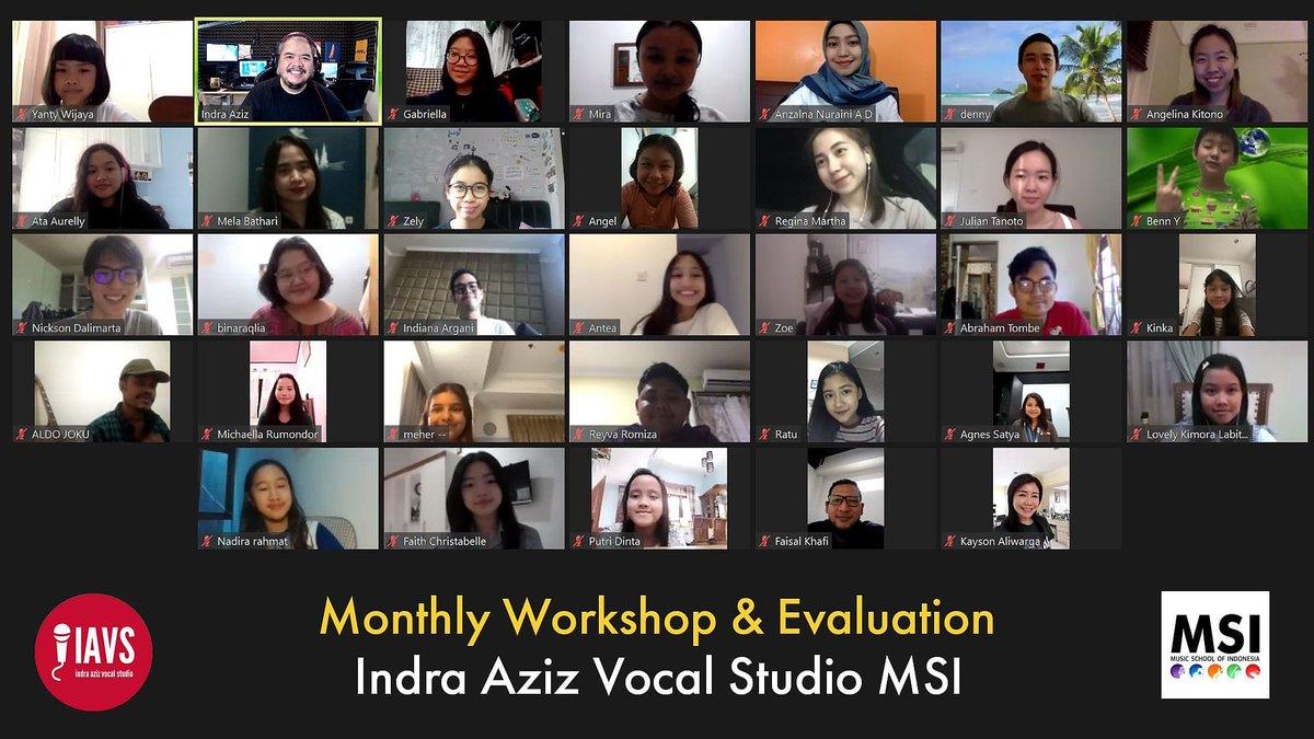 Sesi workshop dan evaluasi sekolah saya, Indra Aziz Vocal Studio MSI, 28/07/2020.  Lihat antusiasme murid2 selalu bikin saya tambah semangat, thanks guys!   Info tentang sekolah saya, call 0217209988, WA 087878269628.  #indraazizvocalstudio https://t.co/FWBDzSDxKv