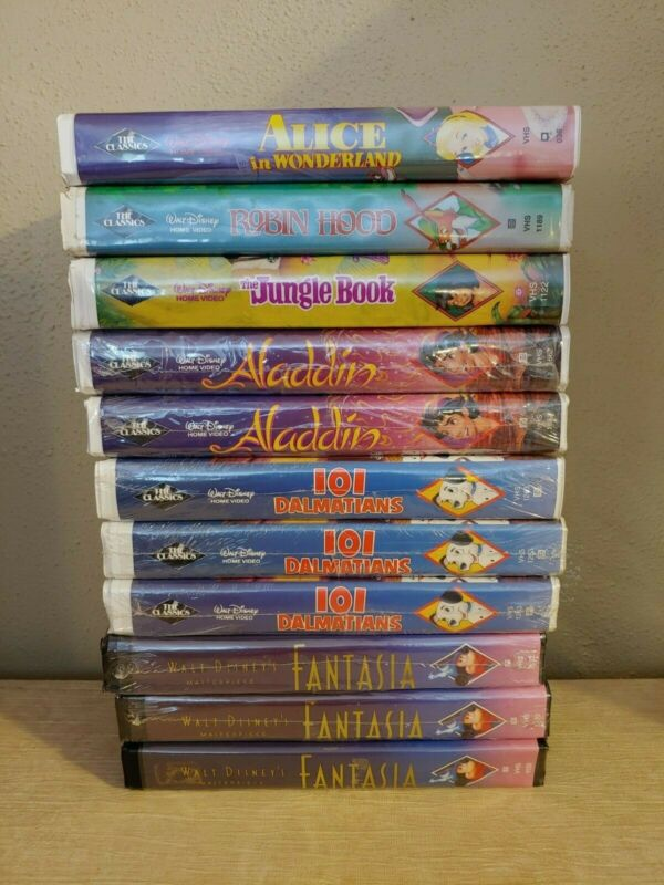 I Want My Vhs On Twitter Disney Vhs Black Diamond Lot Most New Sealed Alice 101 Robin Aladdin Fantasia Https T Co Dox9ylfpzk