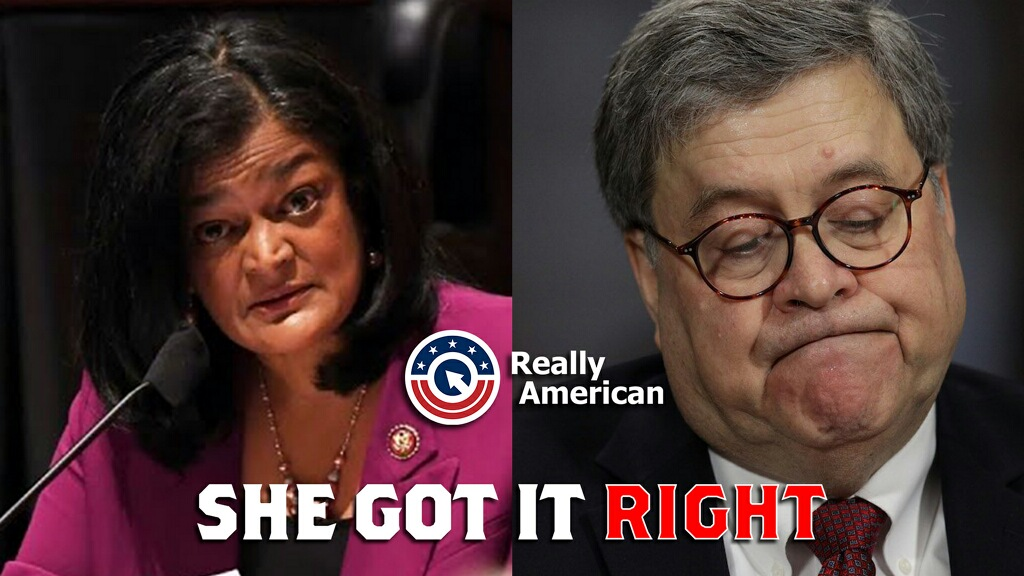 """""""You take an aggressive approach to #BlackLivesMatter protests but not to right-wing extremists threatening to lynch a governor if it's for the President*'s benefit. Did I get it right, Mr. Barr?"""" @RepJayapal #SheGotItRight @ReallyAmerican1"""