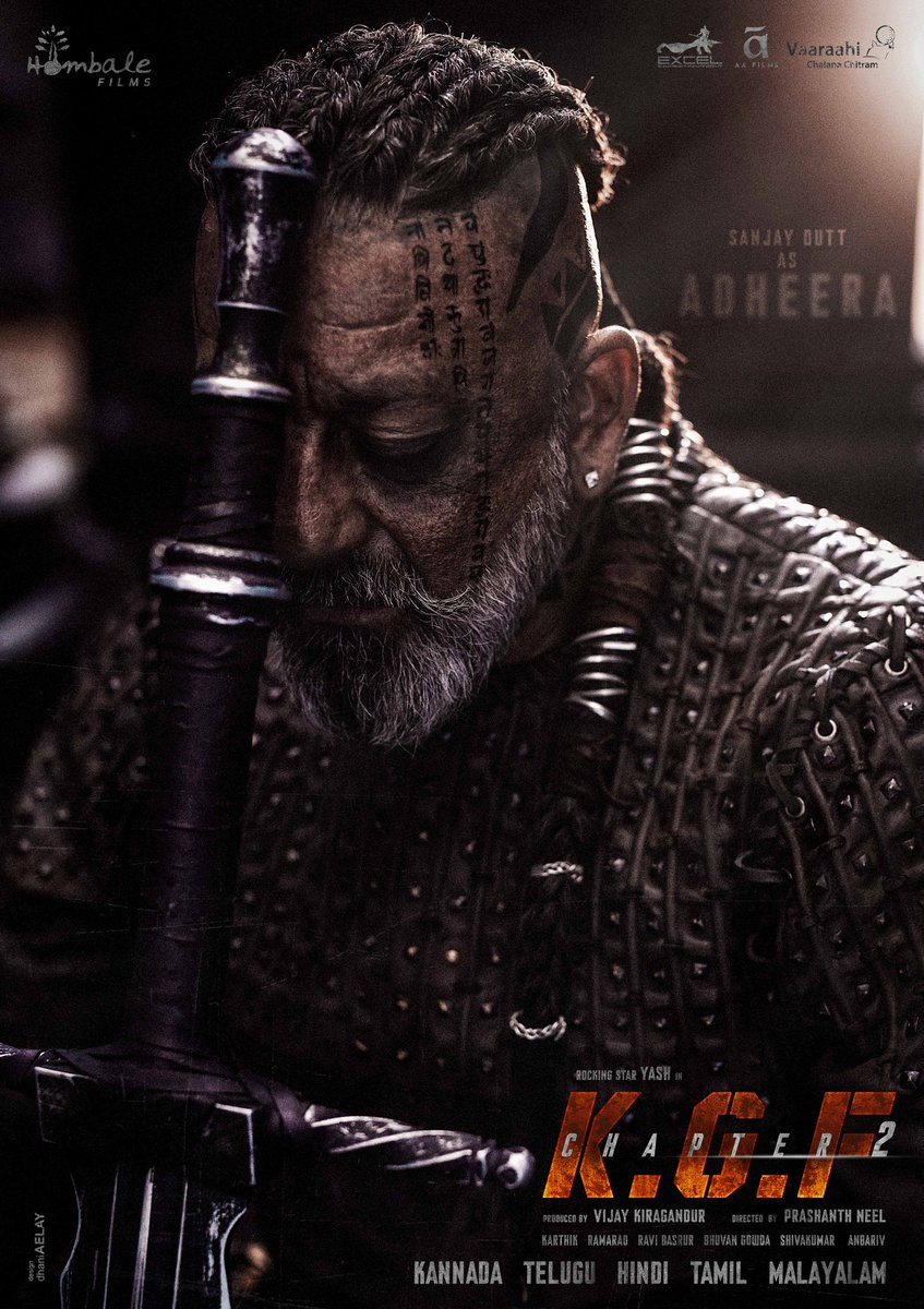'ADHEERA' - Inspired by the brutal ways of the vikings⚔🔥 Happy Birthday @duttsanjay baba, thank you for being a part of #KGFCHAPTER2. Looking forward to our craziest schedule soon.  #AdheeraFirstLook @VKiragandur @TheNameIsYash @SrinidhiShetty7 @bhuvangowda84 @BasrurRavi https://t.co/99eZIivhii