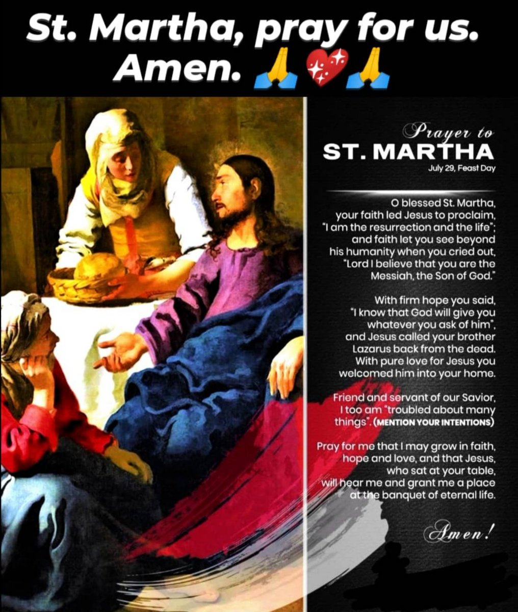 St. Martha, pray for us. Amen.  Blessed Feast of St. Martha.  Prayer to #SaintMartha #Prayer  #PrayerToSaintMartha #JourneyOfFaith #JourneyOfLife #EveryDayIsAJourney #LifeIsTravel #Travel #Backpacking #AuthenticTravel #TravelInspiration #COVID19 #NewNormal #StaySafepic.twitter.com/1uwNUrx5a6