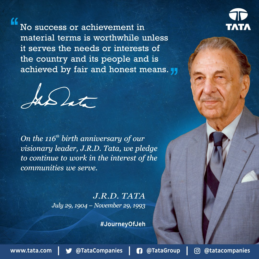 On the 116th birth anniversary of our visionary leader, JRD Tata, we pledge to continue to work in the interest of the community that we serve'. #ThisisTata #JourneyofJeh https://t.co/lfvQPnIYBG