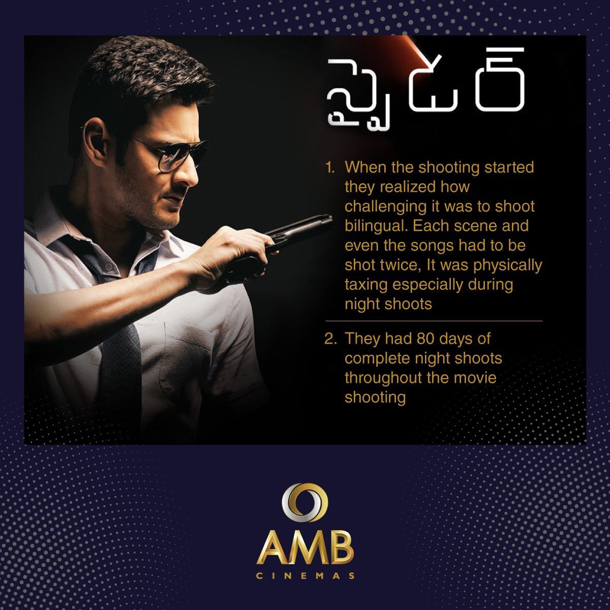 Did you know these facts on Spyder?😮 Comment below if you know another fact that's not mentioned here!😃 #Superstar #MaheshBabu #Spyder #MovieFacts #AMBCinemas