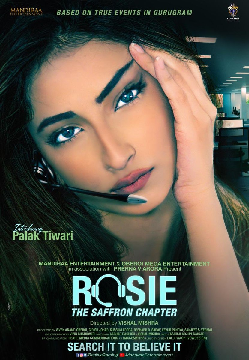 And heres our mystery girl, glad to launch @palaktiwarii in & as #Rosie! Our horror-thriller franchise is based on true events in Gurugram,directed by @mishravishal. #PalakTiwariAsRosie #PrernaVArora @mandiraa_ent #OberoiMegaEnt @RosieIsComing @IKussum @girishjohar @d_reshabh