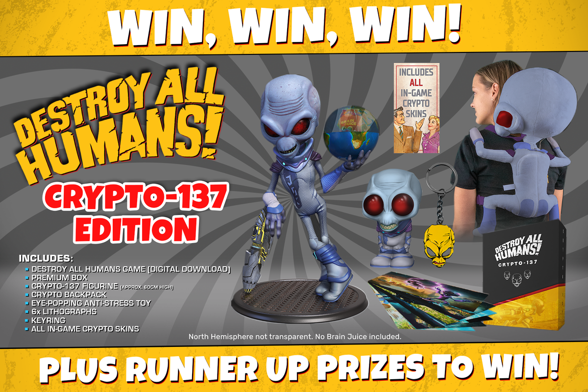 To celebrate the release of Destroy All Humans!, we have a Crypto-137 Edition to giveaway that's out of this world! We also have a DNA Collector's Edition to giveaway as well! 👽  For your chance to WIN, like this post and RT! GOOD LUCK EARTHLINGS! 🛸 https://t.co/pKtYApQCyh