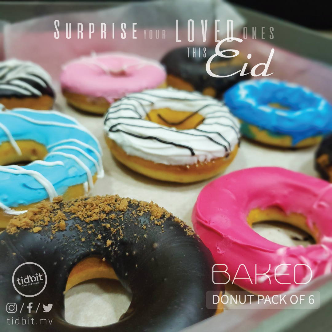 Surprise your loved ones this EID with our special baked donut box of 6.  #tidbit #tidbitmv #tidbitbakers #donut #bakeddonuts #colorful #maldives #villimale #hulhumale #eid #eidmubarak https://t.co/CQOIt7xEn9