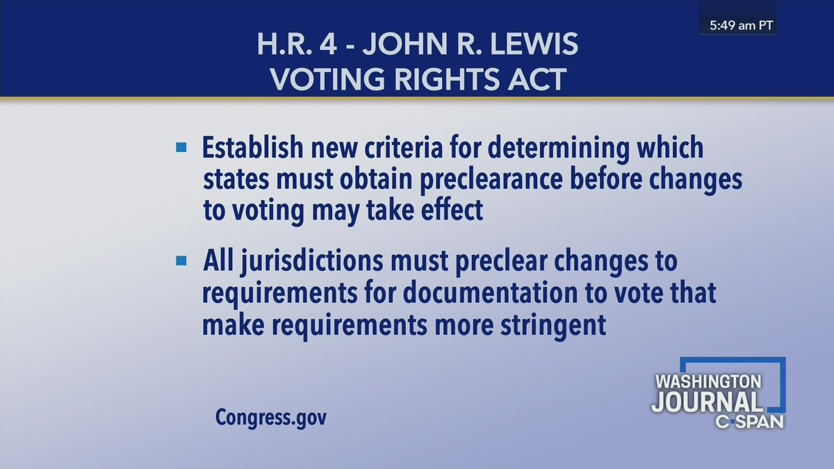 A video clip explaining voting rights legislation in Congress and the impact of the Supreme Court case Shelby County v. Holder. c-span.org/classroom/docu… #hsgovchat #apgov