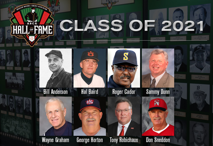 ICYMI: We announced our 8-man ABCA Hall of Fame Class and Lefty Gomez Award recipient for 2021 over the past few weeks! Learn more about this year's honorees at ABCAHallofFame.org!