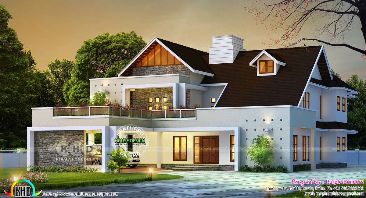 Kerala Home On Twitter Mixed Roof Beautiful 3d Rendering Https T Co Odxu0jlz2y Architecture Design