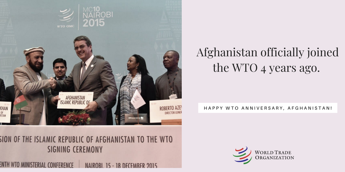 Afghanistan became the 164th WTO member on 29 July 2016. Mr. Mohammad Khan Rahmani, the then First Deputy Chief Executive, signed Afghanistan's Accession Protocol at the 10th Ministerial Conference in Nairobi in December 2015. Happy WTO Anniversary to #Afghanistan  pic.twitter.com/9DJkmvjOmk