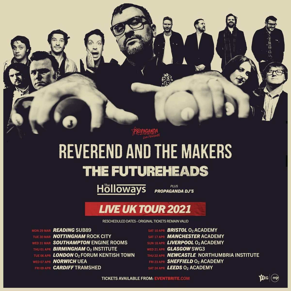 RESCHEDULED DATES |  Due to the ongoing COVID-19 situation, we have decided to move the Propaganda Live Tour with @Reverend_Makers, @thefutureheads & @The_Holloways to 2021!  All tickets remain valid for these new dates. Tickets available here - https://t.co/T1EQ1GkaSk https://t.co/8YRxo14HCa