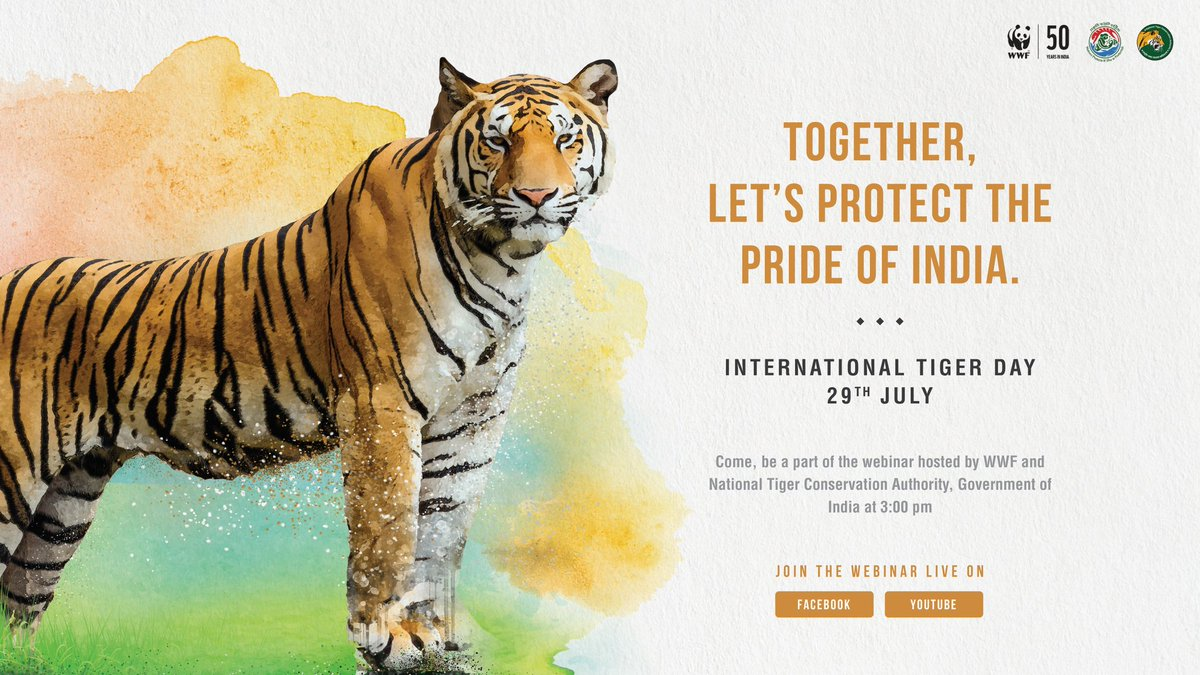 29th July is International Tiger Day, @WWFINDIA and National Tiger Conservation Authority, Govt. of India are hosting a webinar today at 3:00 pm to discuss issues around tiger conservation.   To join click  https://t.co/kz1EI270Ze  https://t.co/fJ8JVU2cB7 https://t.co/IXQUxoHS42