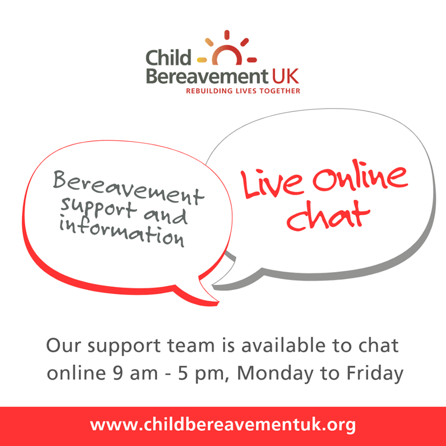 Child Bereavement Uk On Twitter If You Would Like Support Or Information Contact Our Helpline Team Via Our Live Chat Service On Our Website Open Monday To Friday 9 5pm Or You Can