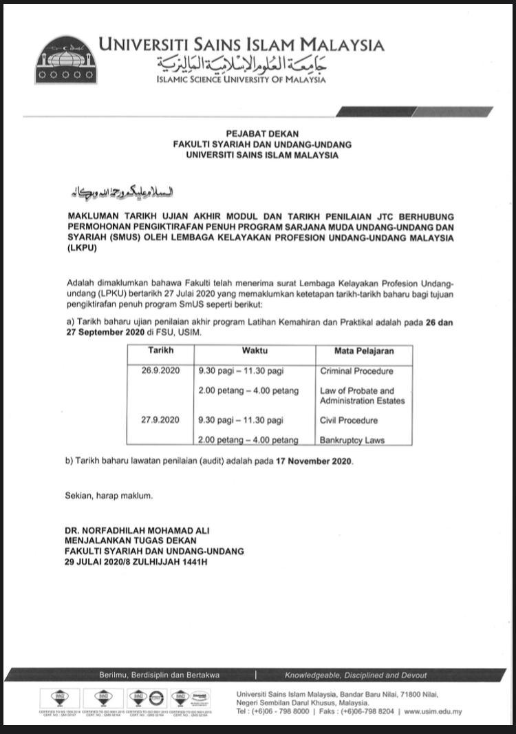 Mpp Usim On Twitter Berikut Adalah Makluman Tarikh Ujian Akhir Modul Dan Tarikh Penilaian Jtc Berhubung Permohonan Pengiktirafan Penuh Program Sarjana Muda Undang Undang Dan Syariah Smus Oleh Lembaga Kelayakan Profesion Undang Undang Malaysia