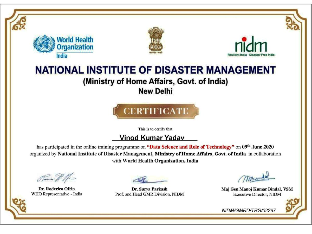 """Vinod Yadav on Twitter: """"#Online_Training_Program on """"Data Science and Role  of Technology"""" Organized by: National Institute of Disaster Management #NIDM,  Ministry of Home Affairs, Government of India collaboration with World  Health Organization #"""