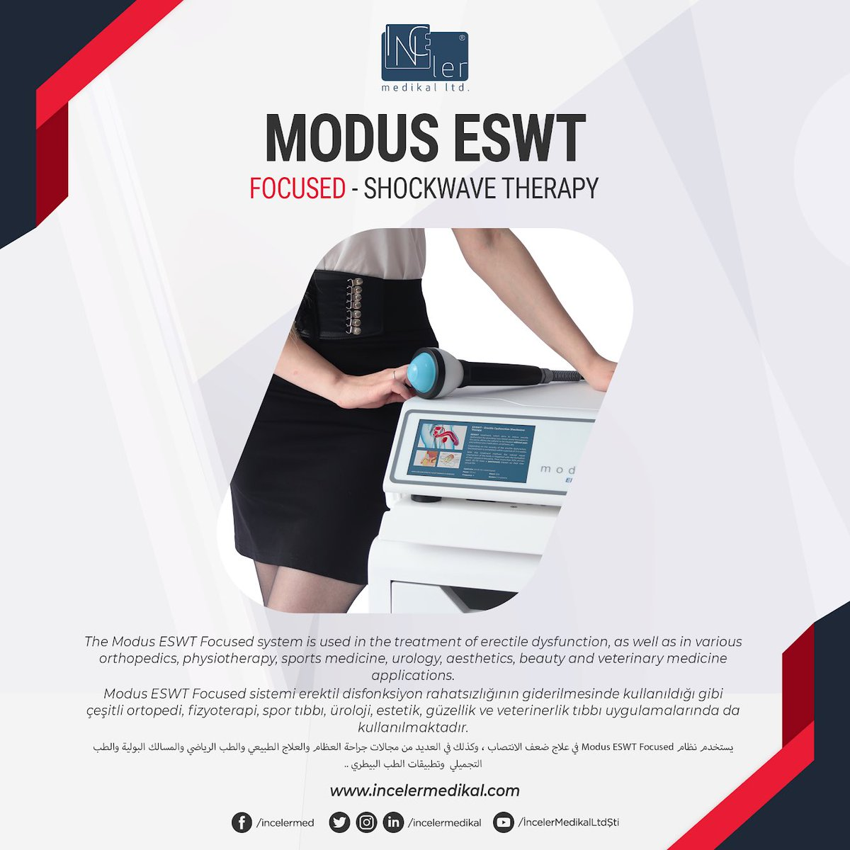 The Modus ESWT Focused system is used in the treatment of erectile dysfunction, as well as in various orthopedics, physiotherapy, sports medicine, urology, aesthetics, beauty and veterinary medicine applications.  #shockwavetherapy #urology #üroloji #erectiledysfunctionpic.twitter.com/IgPjE5t1J5