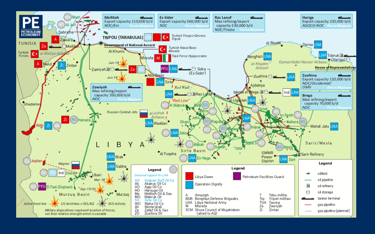 The build up of mercenaries around oil facilities in #Libya is setting the scene for confrontations that carry with them risks to the environment. So to will any eastward shift in the frontline between the GNA and LNA forces.
